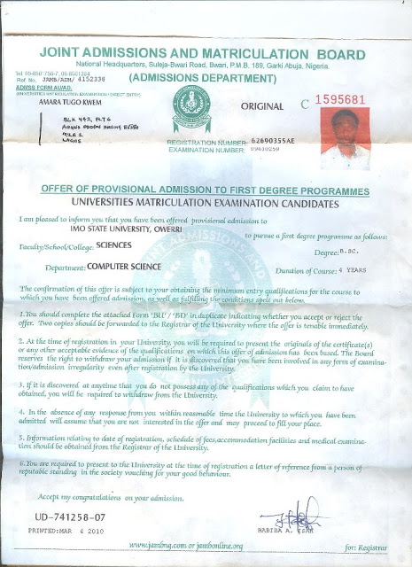 STUDENTS, PARENTS, BEWARE! FAKE JAMB ADMISSION SYNDICATE IN LAGOS!